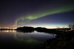 Aurora Iceland 16.4.2016 #1 (ragnaolof) Tags: city longexposure sky reflection green nature night canon landscape iceland tokina reykjavk heimrk northernlights auroraborealis elliavatn