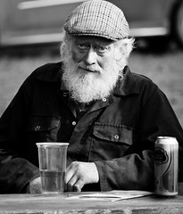 "My Mate ""Stella"" (Neil. Moralee) Tags: old uk stella white man black beer glass monochrome drunk beard mono nikon zoom drink farm farming neil can devon mature cap alcohol brewery farmer wifebeater lager artois drinker 18300mm d7100 moralee"