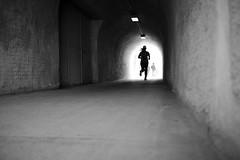 Jogging @ Letten (maekke) Tags: urban bw woman silhouette architecture switzerland noiretblanc pov streetphotography tunnel pointofview fujifilm zrich jogging jogger ch limmat letten 2016 x100t
