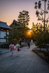 Gion Sunset (ErikFromCanada) Tags: street travel trees girls sunset sky people japan temple evening kyoto warm sony gion sunsetting sunstar a7r