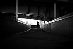 passing by (maekke) Tags: bridge urban bw man silhouette architecture switzerland noiretblanc pov streetphotography highcontrast pointofview fujifilm zrich ch limmat 2016 kreis1 x100t