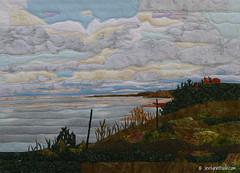 Foggy Morning on Lake Michigan (JerilynnBush.com) Tags: art up landscape lakemichigan cotton fiberart fused rawedge jerilynnbush