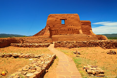 Path to Mission Ruins, Pecos, New Mexico (DTA_6475) (masinka) Tags: park trip usa newmexico rock wall site ruins unitedstates bright path bluesky roadtrip spanish national walkway mission historical nm pecos etbtsy