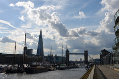 View from St Katharine Docks (DncnH) Tags: sky london thames skyline clouds towerbridge river stkatharinedocks theshard