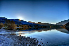 Dusk (Kevin_Jeffries) Tags: lighting blue light newzealand lake reflection tree nature beauty nikon scenery stream flickr dusk scenic clarity sparkle clear shore wanaka d90 glendhubay nikond90 kevinjeffries