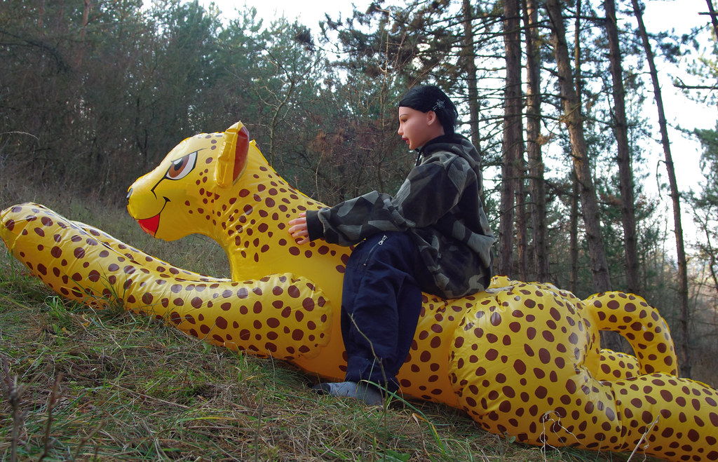 Sitting On Cheetah 1 (Rodsh130) Tags: Toy Doll Inflatable Cheetah Blowup  Panna Gepard