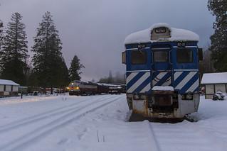 Passenger train in the snow