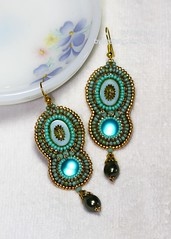 Sirene Earrings (BeeJang - Piratchada) Tags: blue green gold czech handmade embroidery turquoise earring jewelry picasso pearl earrings miyuki beading beaded beadwork beadweaving