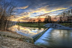 The Final Sunset (of 2012) (Andrew Squires) Tags: longexposure blue sunset orange cloud color colour reflection tree green beautiful tangerine rural river relax landscape countryside solitude republic czech nye poland wideangle favourite hdr cieszyn 2012 weir olza ceskytesin