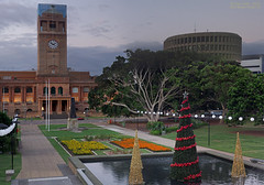 Civic Christmas (OzzRod) Tags: christmas panorama newcastle twilight stitch pentax dusk civicpark k5iis czjbiotar58cmf2 pentaxsingleindecember2015