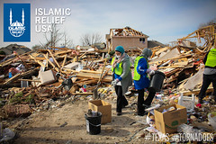 IRUSA disaster response team members clean up the rubble in Texas.