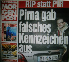 OLYMPUS DIGITAL CAMERA ,found in the newspaper - Dresdner Morgenpost  Pirna gave false license plates  RIP instead PIR (guenter.huth) Tags: rip pir autokennzeichen