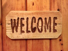 3/365 (travelingellen) Tags: wood art sign wall cabin rustic carving carve welcome welcomesign project365