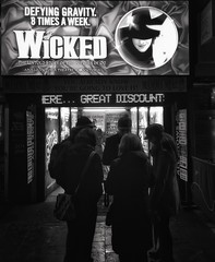 A wicked evening. (mikeatkinson751) Tags: blackandwhite london advertising ticket advertisement entertainment wicked leicestersquare ticketbooth ticketoffice wickedthemusical westendshow