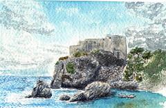 Le fort (ybipbip) Tags: sea sky mer rock watercolor landscape fort aquarelle ciel watercolour acuarela paysage rocher aquarela aquarell acquerello akvarell
