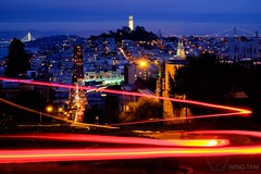 The Magic of San Francisco (Wing Tam Photography) Tags: life sanfrancisco california city longexposure motion horizontal night speed cityscape outdoor illuminated coittower lighttrails lombardstreet oaklandbaybridge