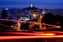 The Magic of San Francisco (Wing Tam Photography) Tags: life sanfrancisco california city longexposure motion horizontal night speed cityscape outdoor illuminated coittower lighttrails lombardstreet oaklandbaybridge