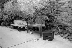 Retirement for Milk Cartons (geowelch) Tags: toronto blackwhite hc110 35mmfilm parkdale urbanlandscape plusx urbanfragments pentaxspotmatic dilutionh plustekopticfilm7400 35mmf35supermulticoatedtakumar