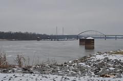 Towboats waiting to Lock_8932 (Porch Dog) Tags: bridge winter cold kentucky january tennesseeriver barges towboats 2016 garywhittington nikon18300mm nikond7000
