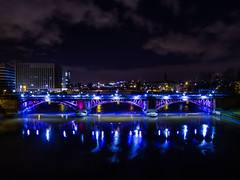 Glasgow green at night (jamie reilly) Tags: bridge tower monument fountain night river clyde george king factory arch glasgow flight whiskey palace aerial peoples highrise bond phantom uav carpets drone templetons dolton p3p mclellans dronelife dronepics phantom3pro