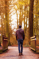 To the other Side (Shanaro) Tags: bridge winter light fall nature walking dawn golden back other alone bokeh dusk side lonely autmn sensation fullbody
