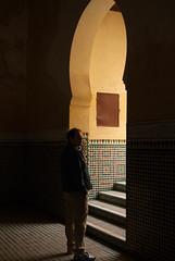 songeur (lekconcept) Tags: door light man morocco mausoleum thinking floortile melnes