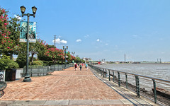 Mississippi River Walk - New Orleans, Louisiana (Andrea Moscato) Tags: park city blue light shadow parco usa brick green water america river french us iron downtown day view unitedstates walk fiume vivid vista quarter acqua citt freshwater statiuniti andreamoscato