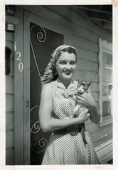 Pin curls and a kitten (sctatepdx) Tags: cat kitten snapshot kitty 1950s vernacular pincurls vintagedress vintagecat oldsnapshot vintagescreendoor vintagekitten vintagesnapshot vintagekitty