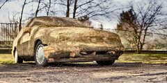 WK10: Brenizer-Concrete-Car (Foto-Monster) Tags: old ford abandoned broken rotting car metal junk rust outdoor antique wheels dirty sierra forgotten vehicle week10 aged wreck damaged demolished ruined brenizer 12images photochallengeorg photochallenge2016