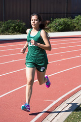 Julia rounding teh bend in the 1600m (Malcolm Slaney) Tags: track paloalto homestead trackandfield 2016 1600m paly