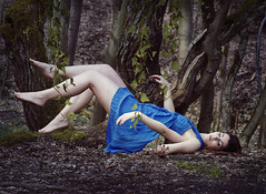 Poison Ivy (xveronikaeva) Tags: blue people green girl glitter composition photography woods moody dress surreal floating levitation atmosphere ivy fantasy dreams poison strangled