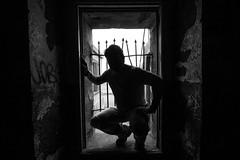 Self Portrait, 2011 (Thomas Hawk) Tags: california bw usa selfportrait abandoned silhouette america graffiti unitedstates military marin unitedstatesofamerica battery marincounty marinheadlands mendel northbay thomashawk fav10 fav25 militarydecay batterymendel