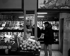 Fruit Shop Mirror - Newcastle. (Richard James Palmer) Tags: street new uk portrait england urban blackandwhite white abstract black art 120 mamiya film monochrome newcastle photography trapped shoot gloomy market iso400 fineart north streetphotography documentary rangefinder gritty ishootfilm tyne east iso 1600 ilfordhp5 400 walkabout epson hp5 medium format analogue pushed melancholy northern northeast ilford f4 isolated upon iso1600 newcastleupontyne 1125 1600iso 80mm tyneandwear 2016 grainger v700 mamiya7ii microphen filmisnotdead 7ii ilfordmicrophen epsonperfectionv700