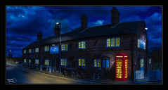The Telephone Box (A Digital Artist) Tags: street panorama window lights warrington pub inn village cheshire widescreen library telephone panoramic tavern 1855mm hdr authentic hatton kevinwalker canon1100d