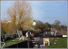Giant snowman causes damage at canal (Lotsapix) Tags: snow snowman workmen northamptonshire canals locks grandunioncanal whilton