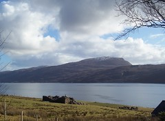 Croft House Ruins, Rhue, West Coast of Scotland, March 2016 (allanmaciver) Tags: sea west clouds dark grey coast ruins calm story highland loch broom colder ullapool rhue bluesjy allanmaciver historyempty