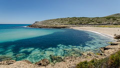 Paradise beach and turquoise sea (hjuengst) Tags: blue beach strand geotagged bay spain turquoise urlaub wideangle blau mallorca spanien majorca balearen bucht arta art weitwinkel trkis