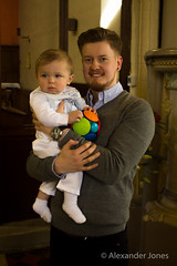 Baby Louie and the God Father (alexjones05) Tags: baby church eos jones dad indoors mum cannon christening alexander godfather 1100d