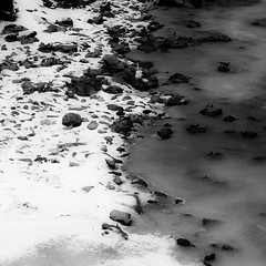 In Frozen Streams 019 (noahbw) Tags: winter blackandwhite bw snow abstract cold ice monochrome leaves rock stone forest square landscape frozen blackwhite still woods nikon rocks stream quiet natural stones freezing ravine stillness d5000 noahbw