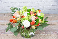 IMG_1274-2 (Garden Party Flowers) Tags: flowers orange white green coral vancouver spring tulips peach peony florist eucalyptus