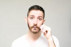 (Damien Cox) Tags: uk gay portrait selfportrait man male me face self ego myself beard eyes nikon hand masculine tshirt ears moi moustache autorretrato scruff stubble i damiencox damiencoxcouk