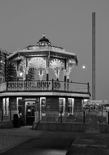 Full moon, bandstand and i360