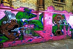 Old and faded (Draopsnai) Tags: old pink streetart wall graffiti mural faded nottinghill kensingtonandchelsea