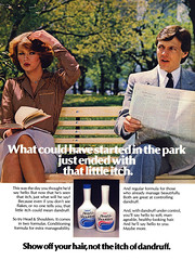 Head and Shoulders, 1982 ad (Tom Simpson) Tags: park woman man vintage bench advertising 1982 ad advertisement shampoo scratch 1980s itch dandruff headandshoulders vintagead