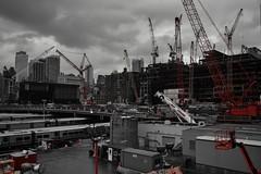 Construction! (diannlroy.com) Tags: newyorkcity red architecture buildings construction chelsea cranes heavyequipment railyard highline