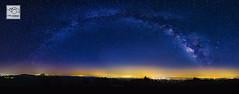 Linville Gorge Milky Way Panorama (cathyandersonphoto) Tags: nightphotography mountains stars astrophotography citylights nightsky linvillegorge tablerock milkyway westernnc ncmountains morgantonnc hawksbillmountain milkywaypanorama