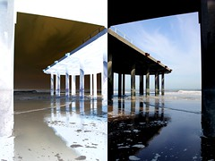 Alter Steg invertiert und gespiegelt (Konstantin Delbrck) Tags: old holland beach architecture scheveningen mirrored inverted pixelmator
