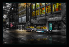 The Taxis (A Digital Artist) Tags: england building rain architecture night clouds reflections manchester northwest taxi transport lancashire cabs citycentre hdr manchestercity canon1855mm kevinwalker canon1100d