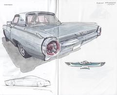 Ford Thunderbird (bullet bird) (Flaf) Tags: colour bird ford water car pen ink vintage us drawing voiture oldtimer rocket bullet florian thunderbird freie attendorn treff flaf afflerbach zeichnerei