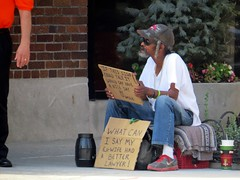 This begging guy is a familiar sight in Indianapolis. (kennethkonica) Tags: street city summer people urban usa hat america canon midwest sitting random outdoor candid indianapolis seat streetphotography indy indiana sit persons seated begging beg global canonpowershot marioncounty hossier
